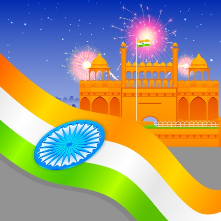 26th: India background with Red Fort Illustration