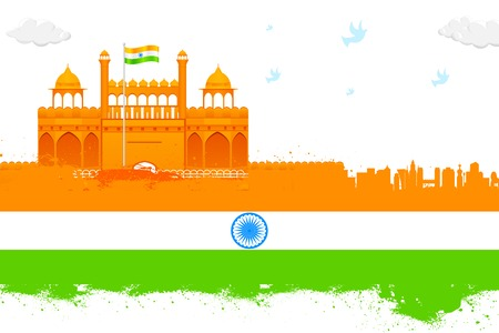 India background with Red Fort Vector