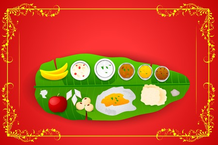 South Indian meal for Onam festival Vector