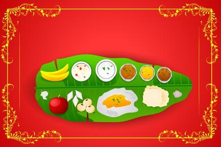 South Indian meal for Onam festival Illustration