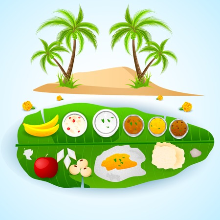 kerala culture: easy to edit vector illustration of south Indian meal for Onam festival Illustration