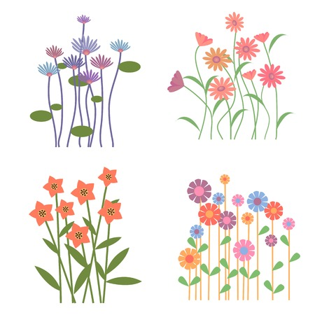 Colorful Retro Flower Collection Vector
