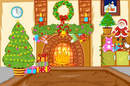 cartoon fireplace: Decorated Christmas House