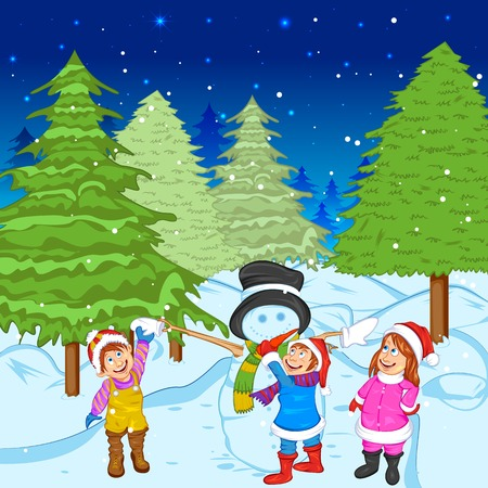 pinetree: easy to edit vector illustration of children making Snowman during holy Christmas Illustration
