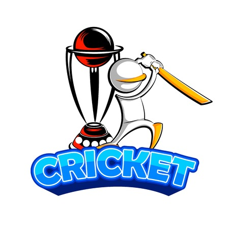 cricket stump: easy to edit vector illustration of cricket bat man playing with trophy