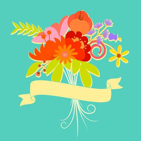 easy to edit vector illustration of floral vintage card Vector