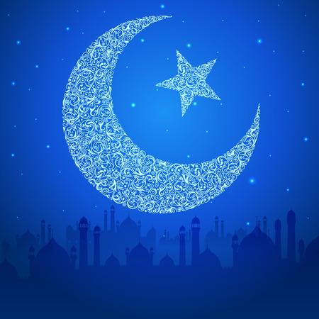 chand: f�cil de editar ilustraci�n vectorial de Eid Mubarak (Happy Eid) de fondo Vectores