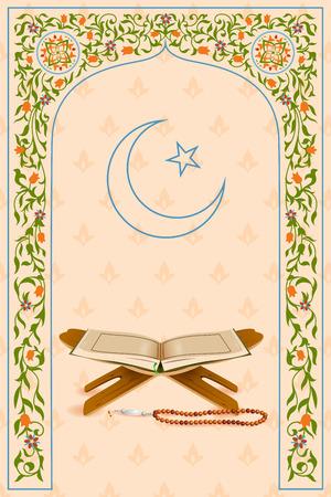 koran: easy to edit vector illustration of holy book Koran in Ramadan Kareem (Happy Ramadan) background Illustration