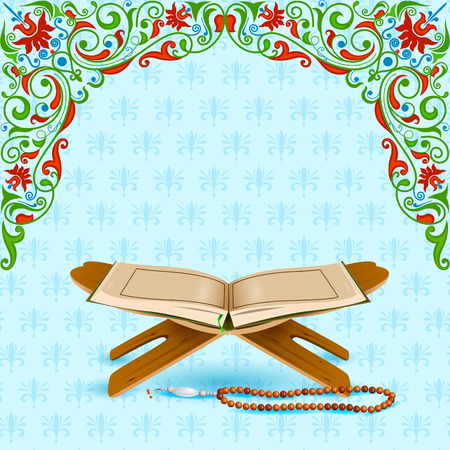 namaz: easy to edit vector illustration of holy book Koran in Eid Mubarak (Happy Eid) background Illustration