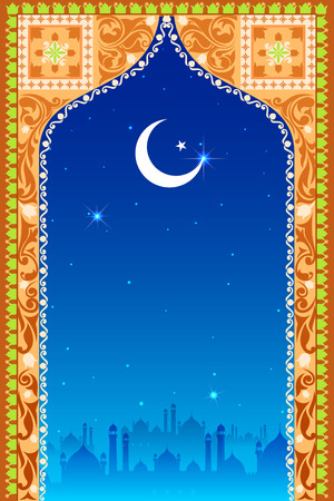 chand: easy to edit vector illustration of Eid Mubarak (Happy Eid) background