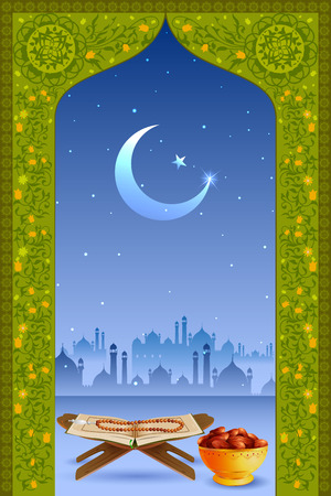 chand: easy to edit vector illustration of holy book Koran in Eid Mubarak (Happy Eid) background Illustration