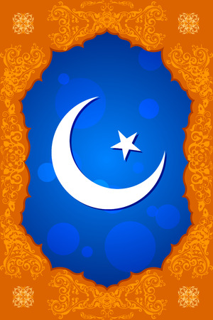 chand: easy to edit vector illustration of floral crescent moon of Eid in Ramadan Kareem (Happy Ramadan) background