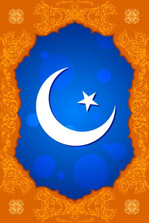 ramadan background: easy to edit vector illustration of floral crescent moon of Eid in Ramadan Kareem (Happy Ramadan) background
