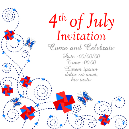 american butterflies: easy to edit vector illustration of 4th of July Independence Day of America background Illustration