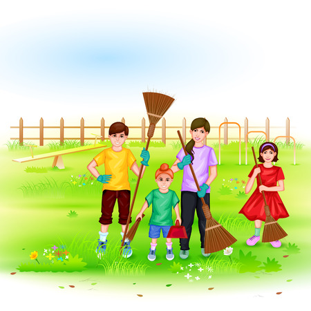 indian family: easy to edit vector illustration of people involved in Go Green Go Clean Mission