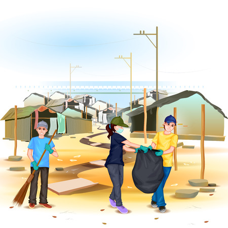 clean background: easy to edit vector illustration of people involved in Clean India Mission