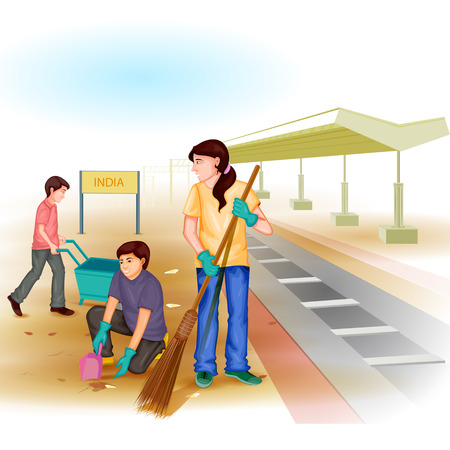 men and woman: easy to edit vector illustration of people involved in Clean India Mission