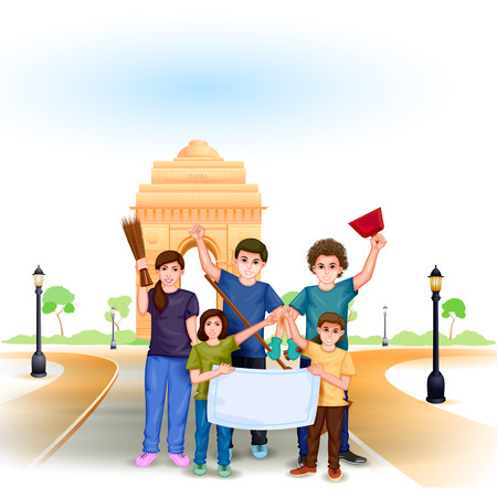 indian family: easy to edit vector illustration of people involved in Clean India Mission