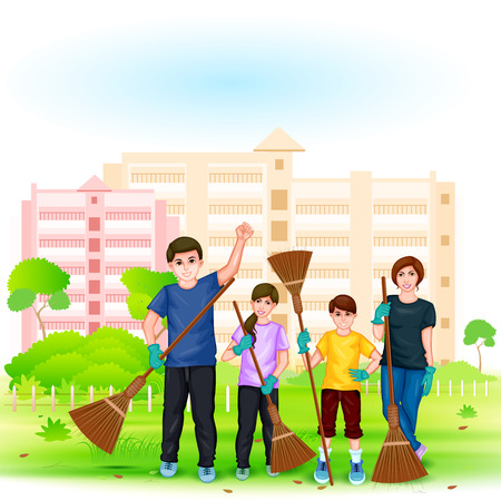 mission: easy to edit vector illustration of people involved in Go Green Go Clean Mission