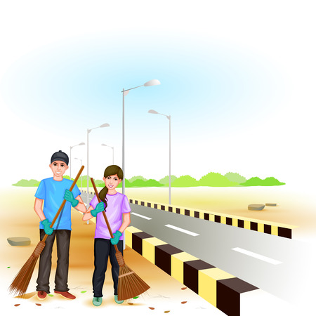environmental awareness: easy to edit vector illustration of people involved in Clean India Mission