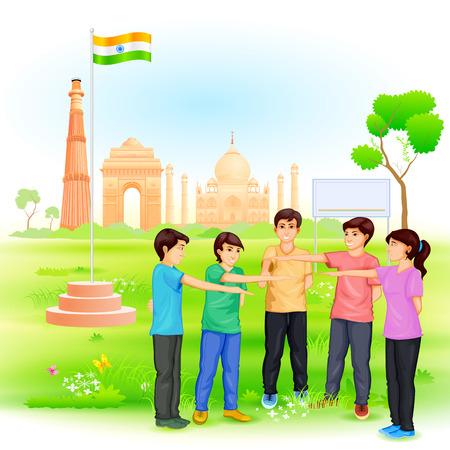 mision: f�cil de editar ilustraci�n vectorial de personas involucradas en Clean India Misi�n