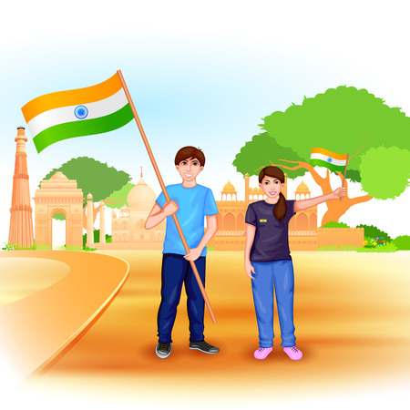 26th: easy to edit vector illustration of people with Indian flag celebrating freedom of India