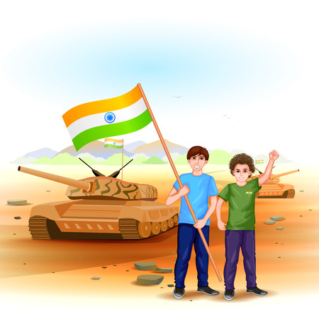child boy: easy to edit vector illustration of people with Indian flag celebrating freedom of India