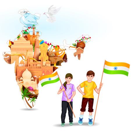 인도의 자유를 축하 인도 플래그와 함께 사람들의 벡터 일러스트 레이 션을 쉽게 편집 할 수