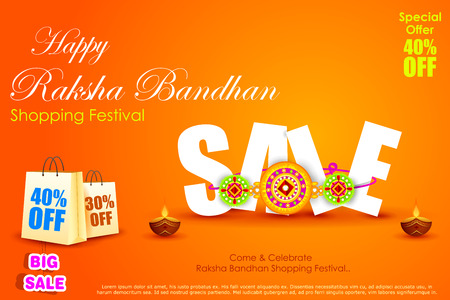 raksha bandhan: easy to edit vector illustration of Raksha bandhan shopping Sale