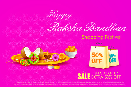 rakshabandhan: easy to edit vector illustration of Raksha bandhan shopping Sale