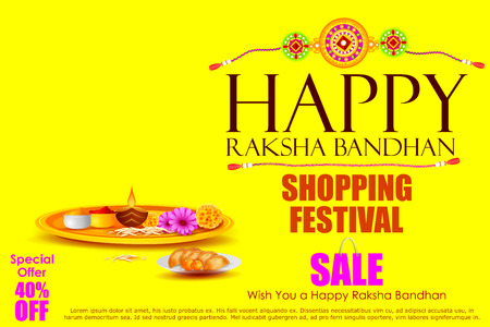 thali: easy to edit vector illustration of Raksha bandhan shopping Sale
