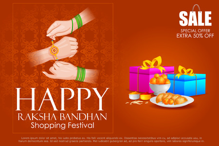 raksha: easy to edit vector illustration of Raksha bandhan shopping Sale