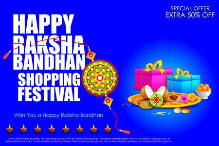 auspicious occasions: easy to edit vector illustration of Raksha bandhan shopping Sale
