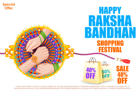 sisters: easy to edit vector illustration of Raksha bandhan shopping Sale