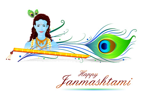 lord krishna: easy to edit vector illustration of Happy Krishna Janmashtami Illustration
