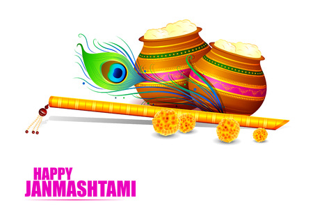 easy to edit vector illustration of Happy Krishna Janmashtami Illustration