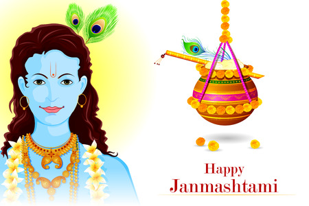 krishna: facile à modifier illustration vectorielle de Happy janmashtami