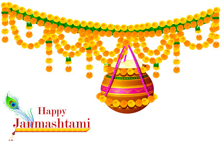 worship: easy to edit vector illustration of Happy Krishna Janmashtami Illustration