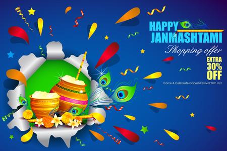 mahabharata: easy to edit vector illustration of Happy Krishna Janmashtami Illustration