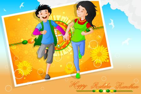 asian and indian ethnicities: easy to edit vector illustration of Raksha bandhan celebration Illustration