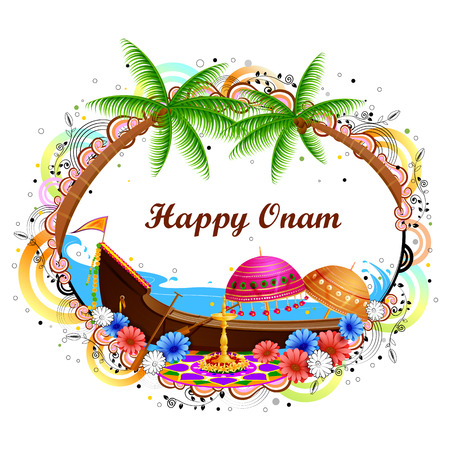 tourism: easy to edit vector illustration of Happy Onam background