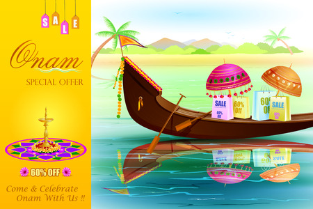malayalam: easy to edit vector illustration of Onam Sale and promotion offer