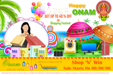 onam: easy to edit vector illustration of Onam Sale and promotion offer