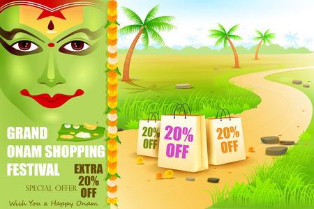 kathakali: easy to edit vector illustration of Onam shopping festival