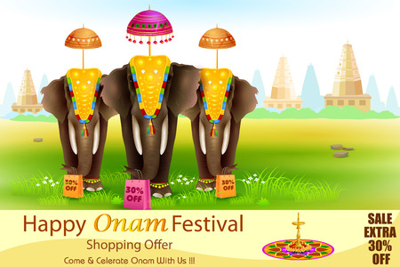 decorated: easy to edit vector illustration of decorated elephant for Happy Onam