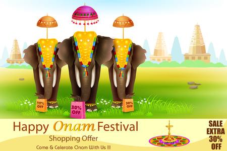 elefant: einfach, Vektor-Illustration von geschm�ckten Elefanten f�r Happy Onam bearbeiten Illustration