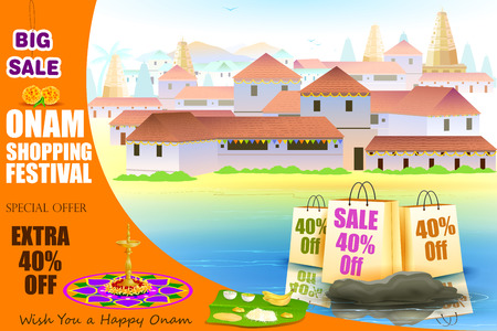 onam: easy to edit vector illustration of Happy Onam shopping Offer Illustration