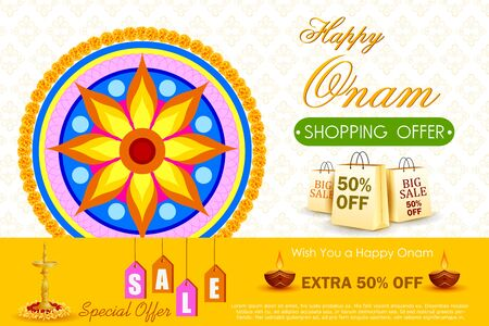 pookolam: easy to edit vector illustration of Happy Onam shopping Offer Illustration