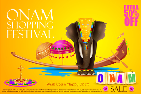 kerala culture: easy to edit vector illustration of decorated elephant for Happy Onam