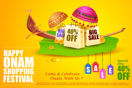 kerala culture: easy to edit vector illustration of Onam Sale and promotion offer